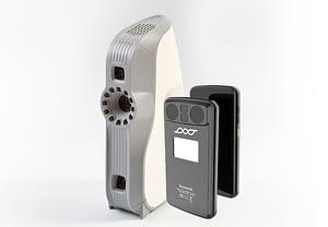 Der Artec Eva 3D Scanner vs. Scoobe3D Scanner, Vorder- und Rückseite im Vergleich