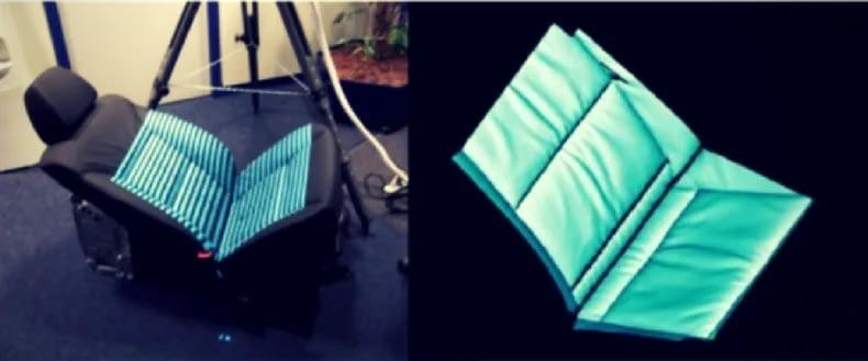 Ein Autositz wird mit der Structured Light Scan-Technologie 3D-gescannt. Dabei wird codiertes Licht in verschiedenen Mustern streifenförmig auf das Objekt geworfen