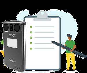"""Das Titelbild zum Blogbeitrag """"3D-Scanner kaufen"""". Zu sehen ist eine Checkliste zusammen mit einem Scoobe3D Modell"""