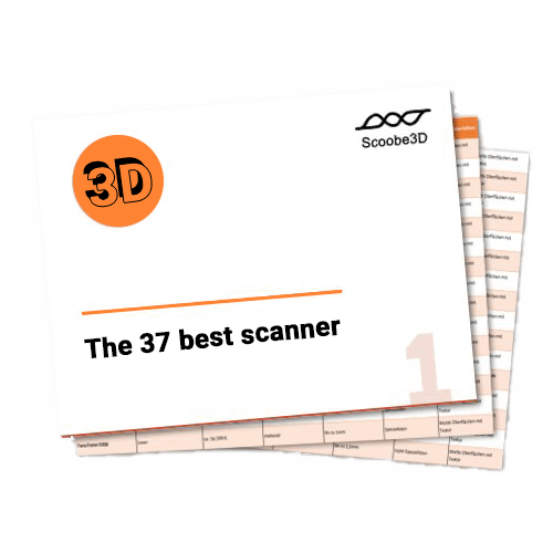 "The title page for the scanner comparison with the inscription ""the 31 best 3D scanners"